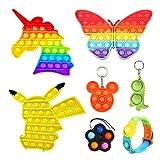 7 Pack Rainbow Push Pop Bubble Fidget Sensory Toy, Including 3Pcs Unicorn Butterfly Pokemon, 3Pcs Pop Bubble Keychain, 1Pcs Wristband Bracelet, Stress Relief Anti-Anxiety Autism Hand Toys for Kids