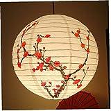 Ruluti Linternas Japonesas De 35 Cm En Flor De Ciruela Pequeña Lámpara De Papel Redonda