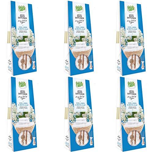 6x Fresh&More Raum-Duftvasen Lufterfrischer, (3x 35ml) (Kühles Leinen&Weiße Flieder)