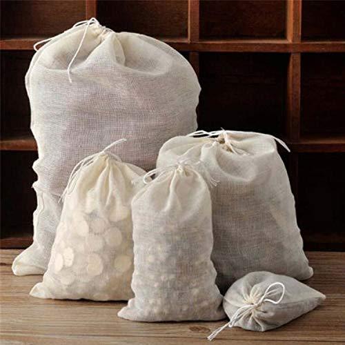 20er Pack Baumwoll Musselin Taschen Kordelzug Taschen,wiederverwendbare Mesh Tasche Natur Baumwolltaschen, Mehrzweck Kordelzug Taschen für Schmuck, Hochzeit Gefälligkeiten Lagerung,Kaffee,Tee (Groß)