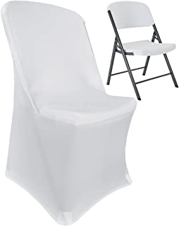 Wedding Linens Inc.. (2 PCS Lifetime Spandex Stretch Fitted Folding Chair Covers Wedding Party Decoration Chair Cover (White)