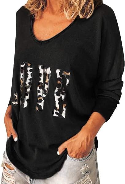 TIANRUN Ladies Women Long Sleeve Leopard O Neck T Shirt Loose Top Love Printed Casual Blouse Autumn Tunic Tee