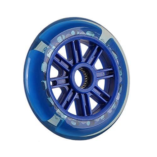 Ruedas de Repuesto de Scooter, Scooter Delantero de 3 Ruedas Led de 125mm Ilumina Las Ruedas de Repuesto, Scooter con rodamientos (Blue)