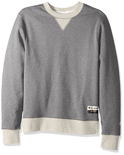 Champion Men's Authentic Originals Sueded Fleece Sweatshirt, Oxford Gray/Oatmeal Heather, Large