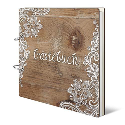 Hochzeit Gästebuch - Rustikal - 215 x 215 mm 144 Seiten Innenseiten Naturpapier