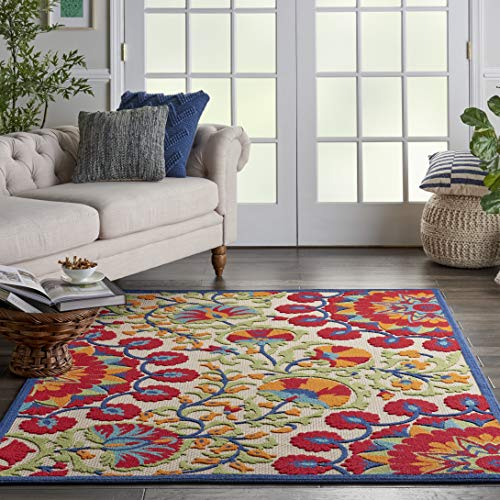 "Nourison Aloha Red Multicolor Easy-Care Indoor-Outdoor Rug 5'3"" x 7'5"", 5'3""X7'5"", Multi"