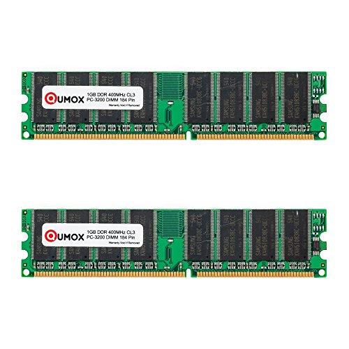 QUMOX 2GB (2X1GB) DDR DIMM (184 PIN) 400Mhz PC3200 CL 3.0 Desktop Speicher