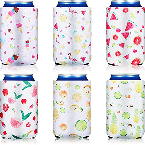 12 Pieces Can Cooler Sleeves Neoprene Collapsible Reusable Soda Beer Caddies Can Cooler...