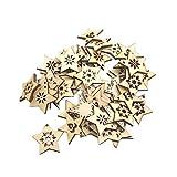 SUPVOX 50 unidades de estrellas de madera para árbol de Navidad, para colgar, color blanco