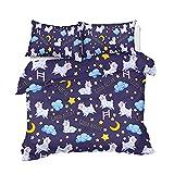 Oveja Luna Estrellas Juego De Cama Morado Azul Cielo Nocturno Funda Nordica 3D Impreso PoliéSter Dibujos Animados Hogar Textiles NiñOs Adulto, 260x220cm, 3 Piezas (1 Funda NóRdica 2 Funda Almohada)