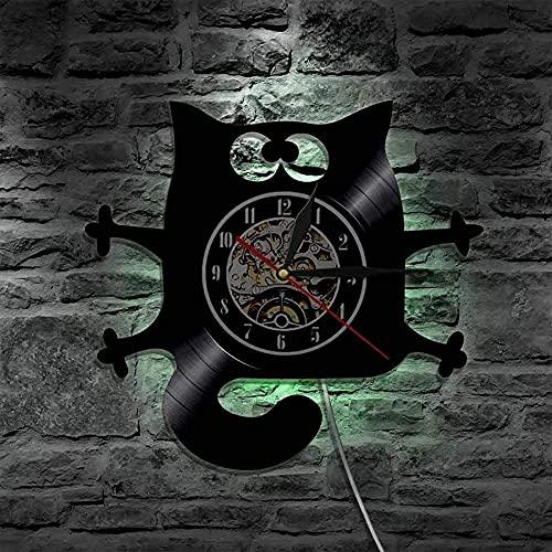 chazuohuaile Co.,ltd Reloj De Pared Cat Meow Wall Led Design Reloj De Pared con Disco De Vinilo Obtenga Regalos para Cumpleaños Ideas Navideñas para Niños, Niñas, Hombres, Mujeres, Adultos, Él Y Ella