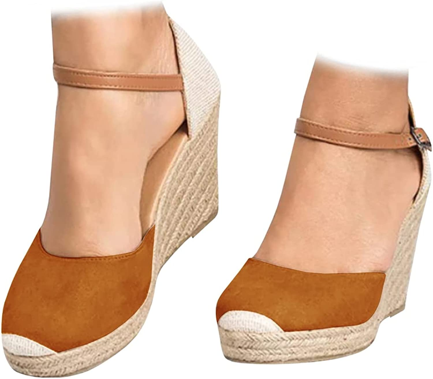 Womens Closed Toe Espadrilles Wedge Large-scale sale St Ankle Shoes Free Shipping New Heel Platform
