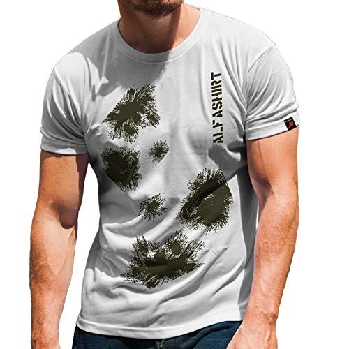 Schneetarn Tarnung Winter BW Militär Alfashirt Armee Schnee T-Shirt #32237, Größe:S, Farbe:Weiß
