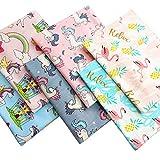 ZAIONE 6pcs Fat Quarters Fabric 19.6' x 19.6' Cotton Fabric Unicorns Flamingo Rainbow Horse Cartoon Printed Quilting Fabric Bundles for Home Décor Clothing Craft Sewing Material