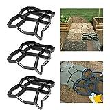 FROADP 3 piezas/juego Bricolaje pavimentación Piedra de escalonamiento Molde de concreto Jardín Pasarela de moldes(Desigual con 9 grillas)