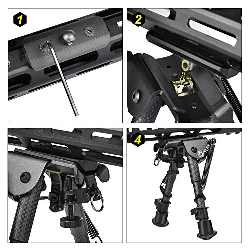 CVLIFE 6-9 Inches Carbon Fiber Bipod Rifle Bipod with Adapter for M-Rail