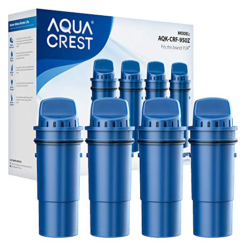 AQUACREST NSF Certified CRF-950Z Pitcher Water Filter, Compatible with Pur Pitchers and Dispensers PPT700W, CR-1100C, DS-1800Z and PPF951K, PPF900Z Water Filter (Pack of 4)