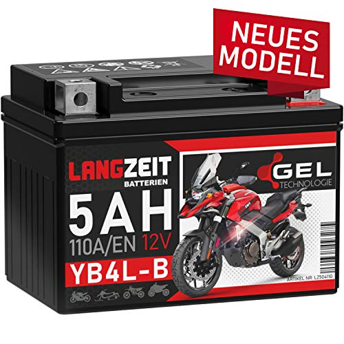 LANGZEIT YB4L-B GEL Roller Batterie 12V 5Ah 110A/EN GEL Batterie 12V Motorradbatterie doppelte Lebensdauer entspricht CB4L-B 50411 12N4-3B YB4L-A ersetzt 4Ah vorgeladen auslaufsicher wartungsfrei