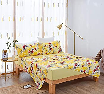DaDa Bedding Sunshine Yellow Fitted and Flat Bed Sheets - Radiant Floral Hummingbirds - Bright Vibrant w/Pillow Cases Set - Multi-Colorful Red Flowers - King Size - 4-Pieces