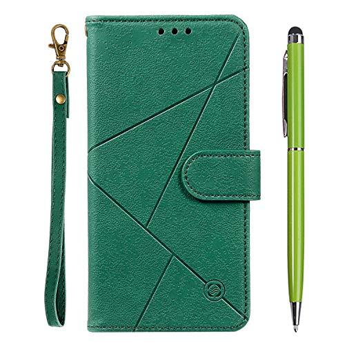TOUCASA für iPhone 8 Plus Hülle,Handyhülle für iPhone 7 Plus,Brieftasche PU Leder Flip [Prismatisch] Embossing Case Magnetverschluss Handytasche Klapphülle für iPhone 8/7 Plus (5,5 Zoll)(Grün)