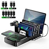 Wireless Charging Station for Multiple Devices, Vogek 8 in 1 5 USB Port Charger Docking Station with Qi Wireless Charging Pad and Apple Watch & AirPods Stands for iPhone/ipad/Samsung/Android/Tablet