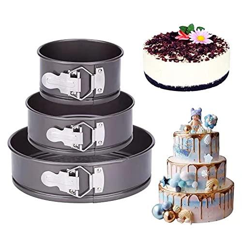 nuosife Molde de Horno Desmontable, Molde para tartas redondo ajustable con bisagras, Molde para tartas de diámetro redondo, El diámetro es de 12cm, 18cm y 22cm, Las alturas son: 6,5 cm