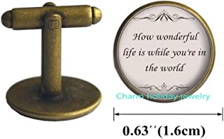 How Wonderful Quote Jewelry-Song Lyrics Quote Cufflinks-Romantic Cuff Links-Jewelry Gift for Her-#286