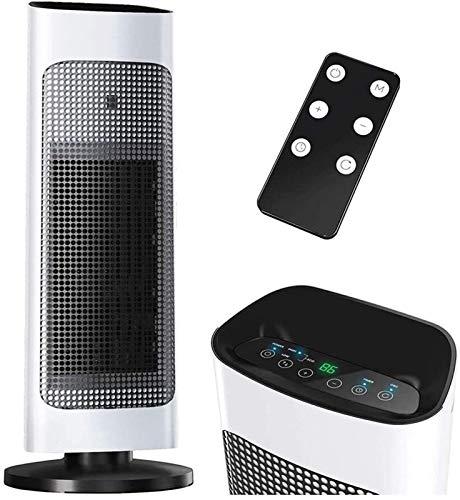 Eléctrico portáti de Aire Personal calefactor Pantalla LED digital 1500W Calentador de torre con control remoto Modo eficiente eficiente de ECO 80 ° Oscilación 24 horas Temporizador para Hogar Oficina