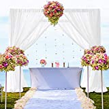 Chiffon-Gardinen, 2 Paneele, 73,5 x 308,5 cm, Weiß, Voile, durchsichtig, für Geburtstag, Chiffon-Hintergr&, für Hochzeitszeremonie