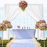 Cortinas de gasa de 2 paneles de 29 x 120 pulgadas de gasa blanca para cumpleaños, telón de fondo de tul, telón de fondo de fotos, cortinas de gasa para ceremonia de boda
