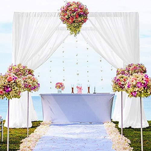 Tende in chiffon con 2 pannelli, 50 x 300 cm, in voile bianco, per compleanni, in chiffon, per foto e matrimoni