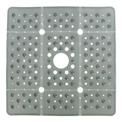 SlipX Solutions Extra Large Square Shower Mat, 27 x 27 Inches, Provides More Coverage & Non-Slip Traction (100 Suction Cups, Great Drainage, Gray)