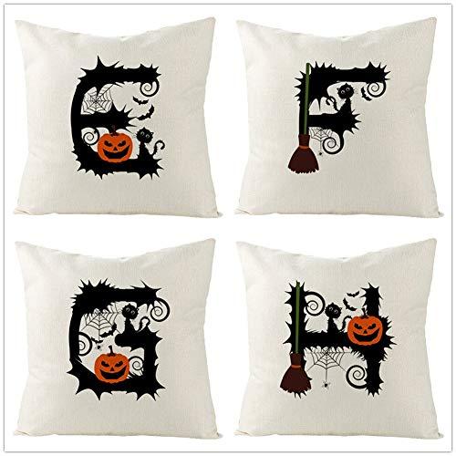 4 Pack Fundas de Cojines Throw Pillow Case Alfabeto de calabaza de Halloween Cojines Decoracion Algodón Lino Fundas de Almohada Cuadrada para Sofá Cama Coche Decorativo Hogar Pillowcase,45x45cm Y2853