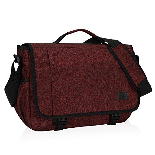 Hynes Eagle Laptop Messenger Bag 15.6 inch Commute Shoulder Bag for Men & Women Red