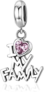 MiniJewelry fit Pandora Love Heart Charm for Bracelets I Love My Family, Enjoy Life Pink Cubic Zirconia Heart