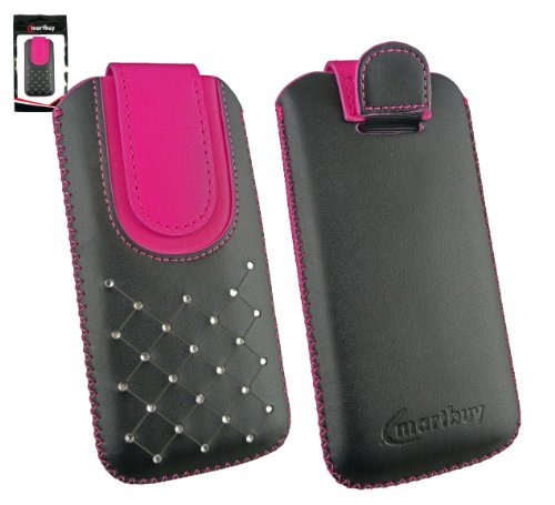 emartbuy® Schwarz/Hot Rosa Edelstein besetzt Premium PU Leder Tasche Hülle Schutzhülle Case Cover (Größe 4XL) mit Ausziehhilfe Geeignet für Motorola Moto G (2014) / Moto G Dual SIM/Moto G2