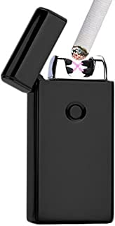 Lonni Electric Lighters Rechargeable Dual Arc, Black USB Windproof Flameless Electronic Cigarette Lighter for Cigarettes Smoking Camping BBQ Candle