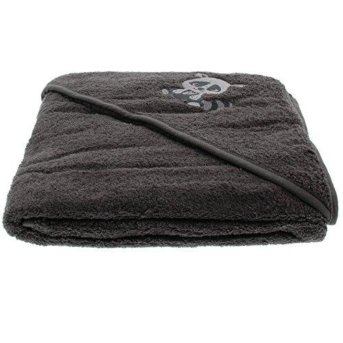 Pippi Baby Unisex Handtuch mit Kapuze, Waschbär, 83x83 cm, Farbe: Grau, 3823