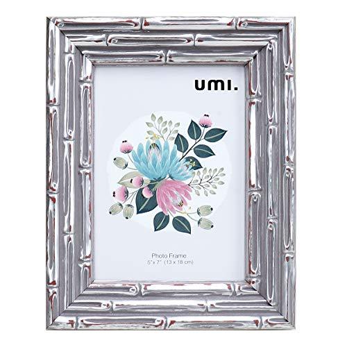 UMI.by Amazon - Bambusartig,5 x 7 Zoll (13 x 18 cm) Photo Frame,PS Schaum Umweltschutz Bilderrahmen,Wanddekoration und Tabletop-Display(Silber)