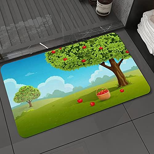 Il tappetino da bagno è super morbido e antiscivolo,Giacimento di frutta verde del giardino del cielo della pianta della natura d'annata Tappetini da bagno e tappetini 50 x 80 cm