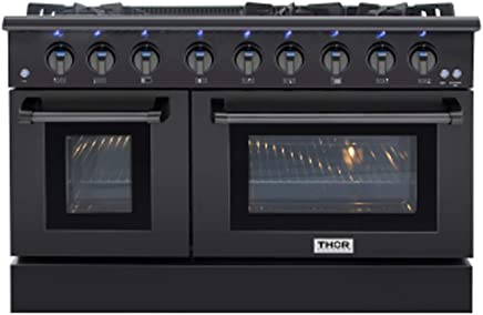 Thor Kitchen 48 Inch Gas Range 6 Burners Cooktop 6.7 cu.ft Oven Black Steel