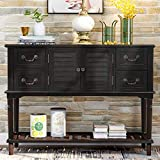 LUMISOL Console Table with Drawers Sideboard Buffet Sofa Table for Entryway with Storages and Shutter Doors and Bottom Shelf (Espresso)