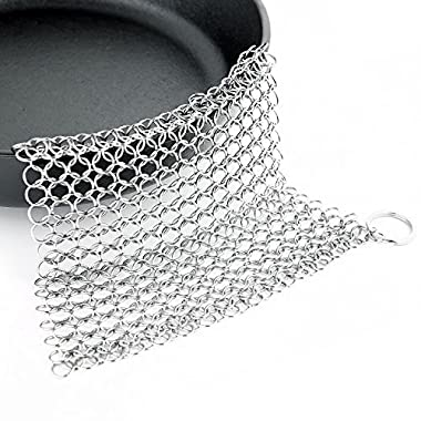 Ohuhu Cast Iron Cleaner, Stainless Steel Chainmail Scrubber for Lodge Skillet/ Pan Cleaning , 6x8''