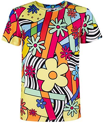 COSAVOROCK 60er 70er Jahre Retro Flower Kostüm T-Shirts für Herren Blumen XXL