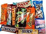 scatola misteriosa con snack americani dolci salati e bibite