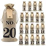 Shintop 20 sacchetti di vino con etichette e spago di iuta da 100 metri, 14 x 6 1/4 pollic...