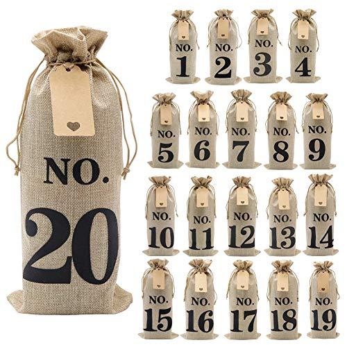 Shintop 20 bolsas de vino con etiquetas y cuerda de yute de 100 pies, 14 x 6 1/4 pulgadas con cordón para vino con número para cata de vino ciegos (n.º 1 a n.º 20, marrón)