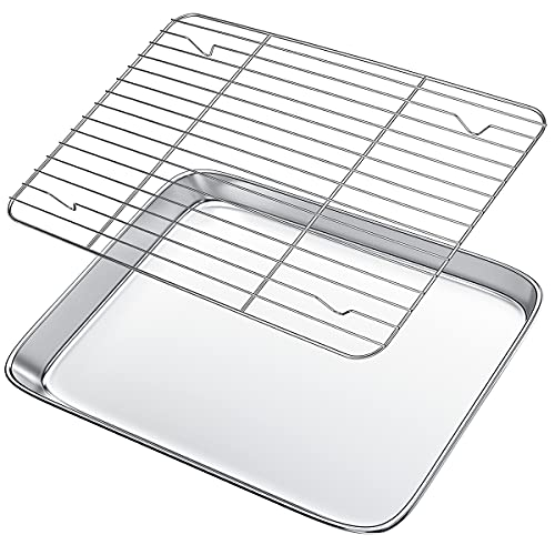 Baking Sheet with Wire Rack Set,Gtmkina Stainless Steel Oven Tray& Cookie Sheet with Cooling Rack for Baking,Rectangle Size 12.5' x 9.7' x 1',Heavy Duty, Non-Toxic, Easy Clean(Tray + Rack)