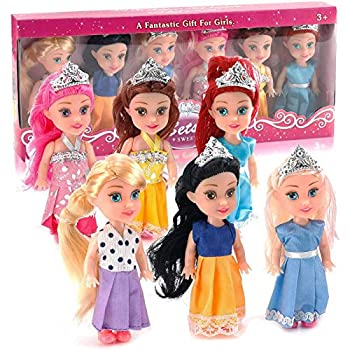 Liberty Imports 6 PCs Miniature Pocket Princess Dolls with Dresses Girls Play Set Collection  4.5-Inches