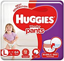 Huggies Wonder Pants Large (L) Size Baby Diaper Pants, 64 count, with Bubble Bed Technology for comfort